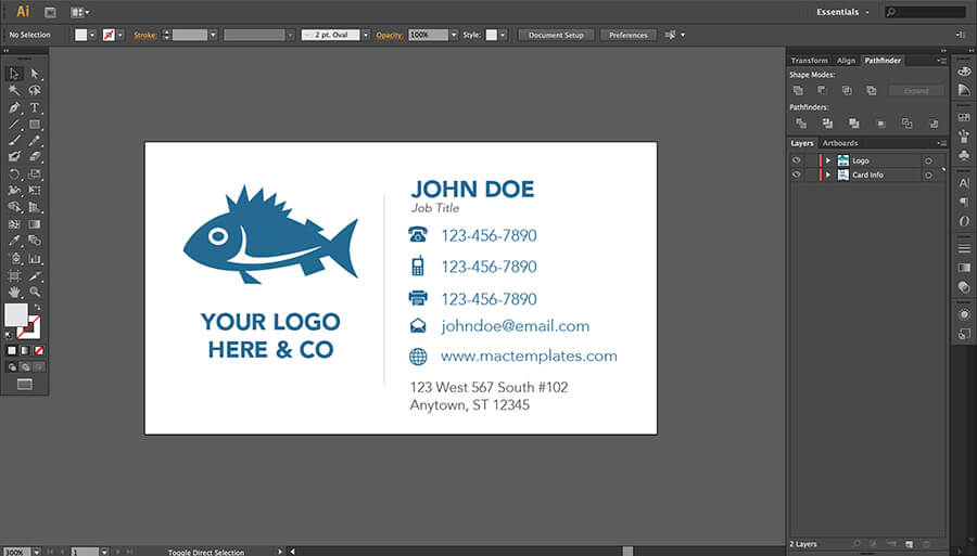 business cards template for pages or illustrator