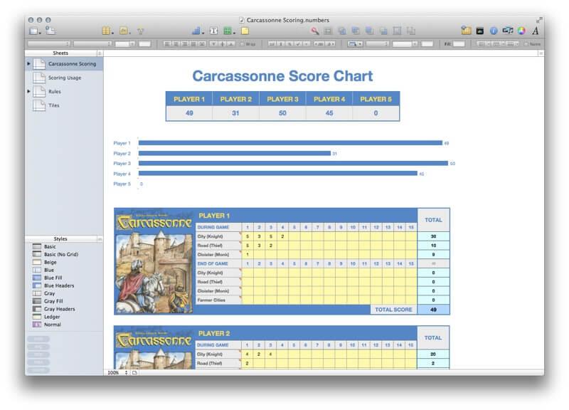 Carcassonne Scoring Template