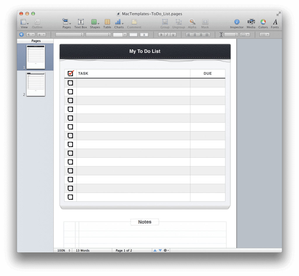 to do list template for apple pages