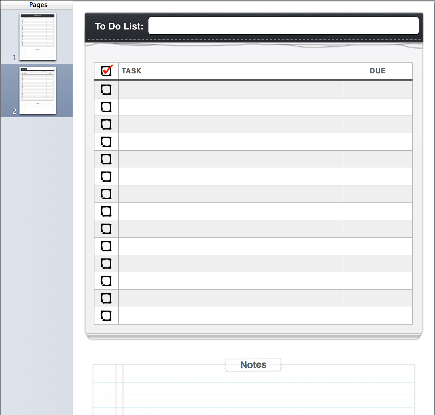 graphic relating to Pages Checklist Template identify In the direction of Do Listing Template
