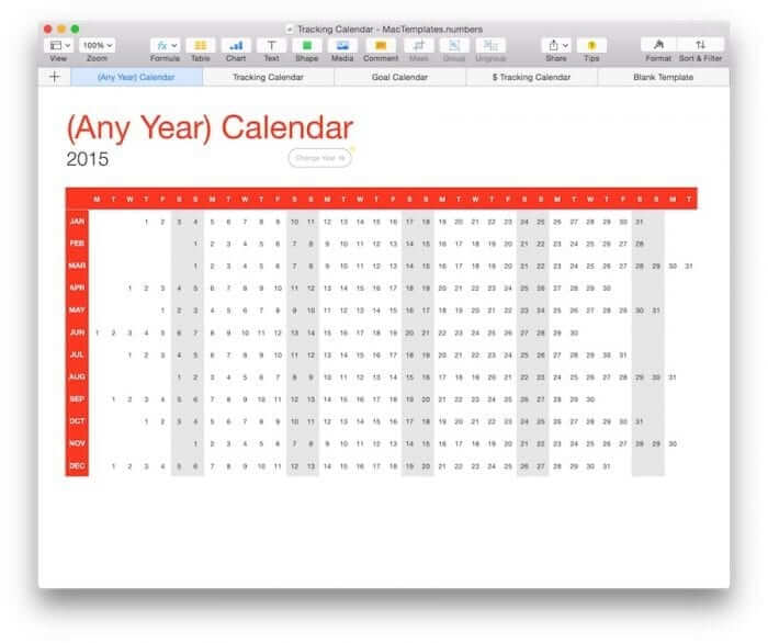 (Any Year) Calendar Tracker Template 2