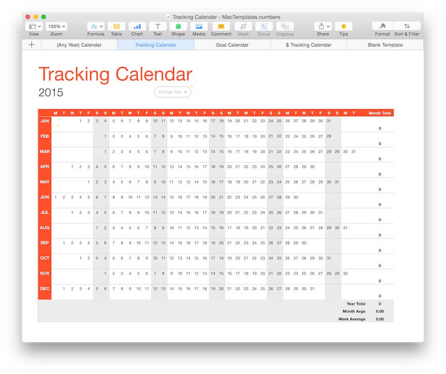 Any Year  Calendar Tracker Template