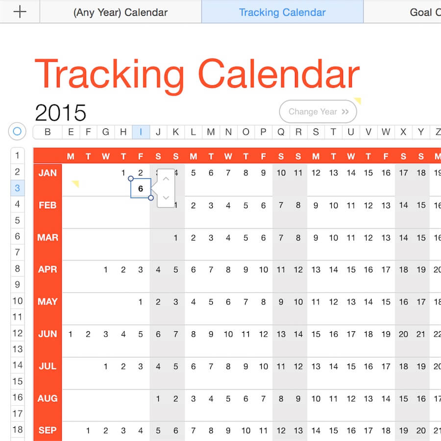 Year Calendar Numbers Template : Any year calendar tracker template for numbers