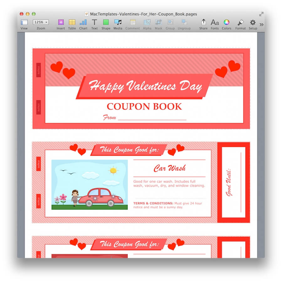 Valentine 39 s day coupon book for pages pdf for Coupon template for pages