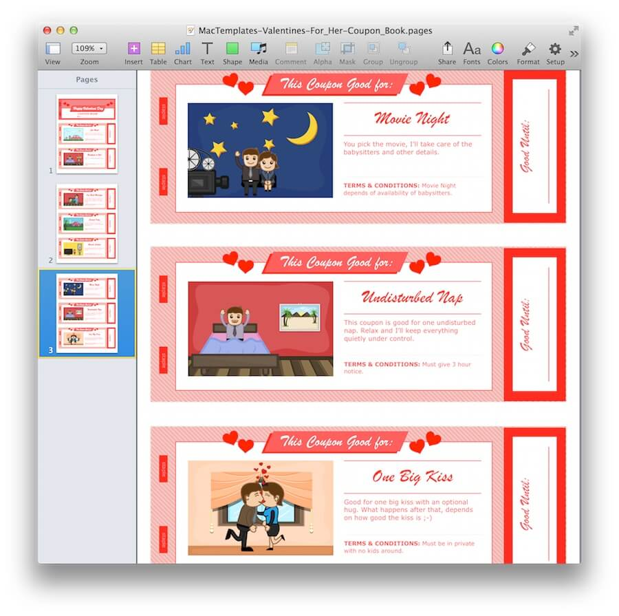 Valentine\'s Day Coupon Book for Pages & PDF - MacTemplates.com