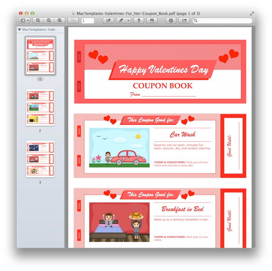 valentine u0026 39 s day coupon book for pages  u0026 pdf