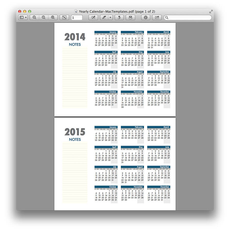 Yearly Calendar Template For Pages And Pdf Mactemplates