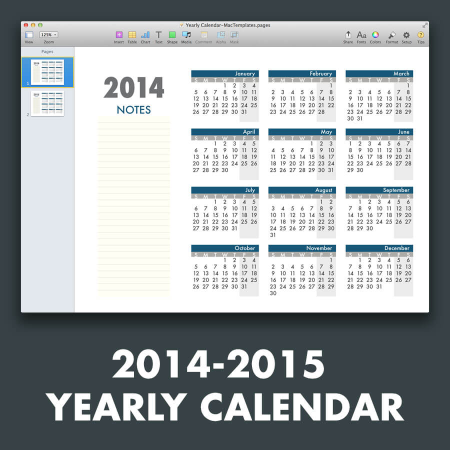 yearly calendar template for pages and pdf mactemplatescom