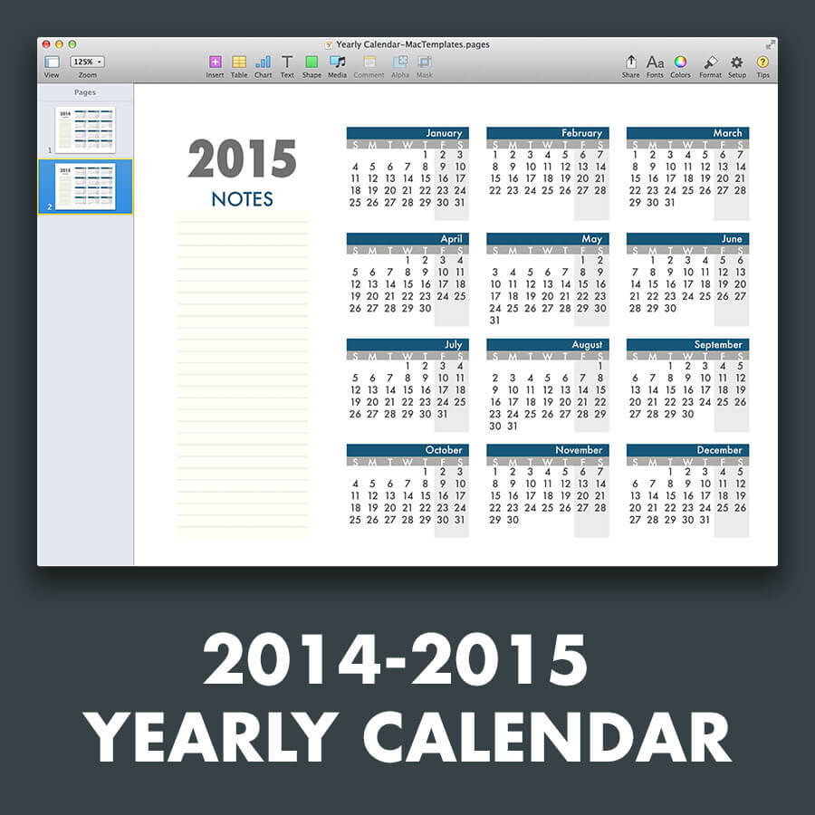Yearly calendar template for pages and pdf for Ms office calendar template 2015